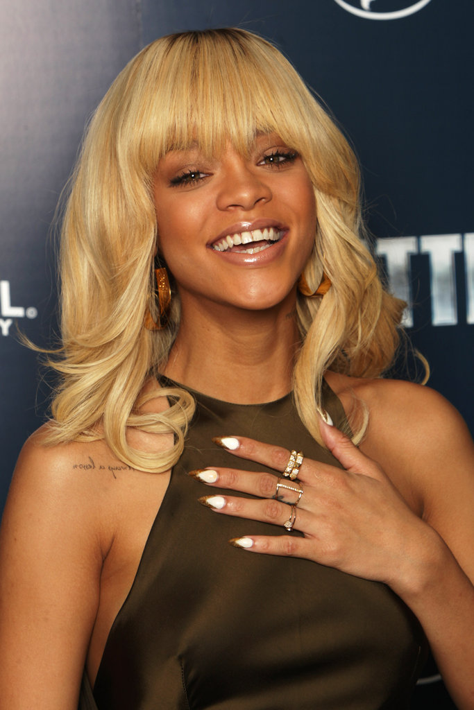 Rihanna sported some interested nails at a photocall for Battleship in London.