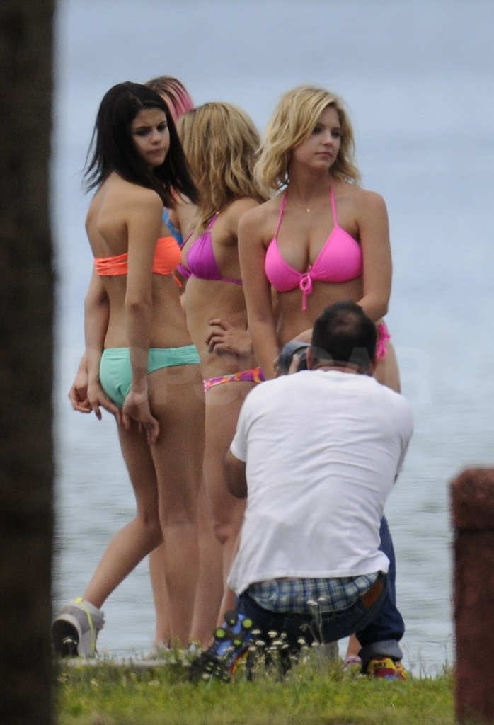 The stars got into character on the set of Spring Breakers.