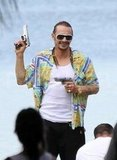 James Franco on the Spring Breakers set.