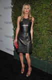 Nicky Hilton wore a black leather dress to a celebration for Valentino's 50th anniversary in LA.