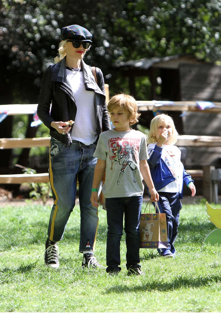Gwen Stefani went to a park with Kingston and Zuma.