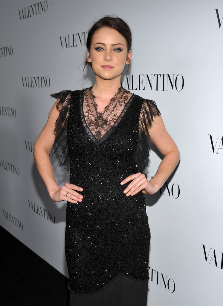 Abigail Spencer on the black carpet of Valentino's 50th anniversary party in LA.