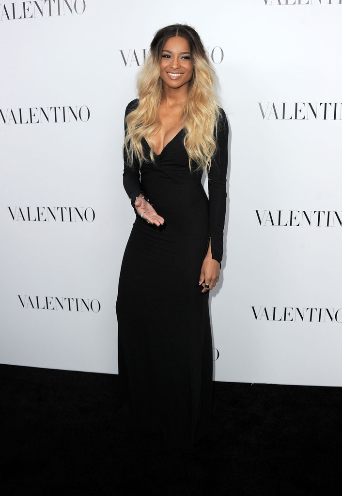 Ciara stepped out in an elegant black gown.
