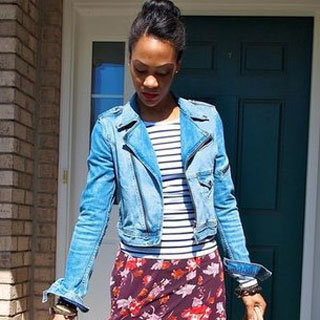 Denim Jacket and Floral Maxi Street Style