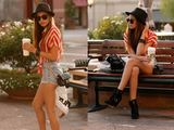 This street styler paired classic Levi's with a striped top, fedora, and dark sunglasses for a cool downtown Summer look.  Photo courtesy of lookbook.nu
