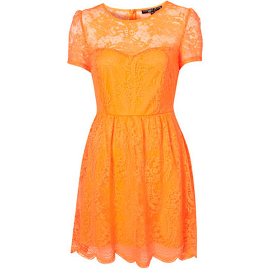 Topshop Neon Lace Flippy Dress