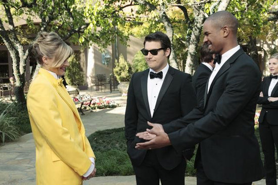 Eliza Coupe, Adam Pally, and Damon Wayans Jr. on Happy Endings. Photo copyright 2012 ABC, Inc.