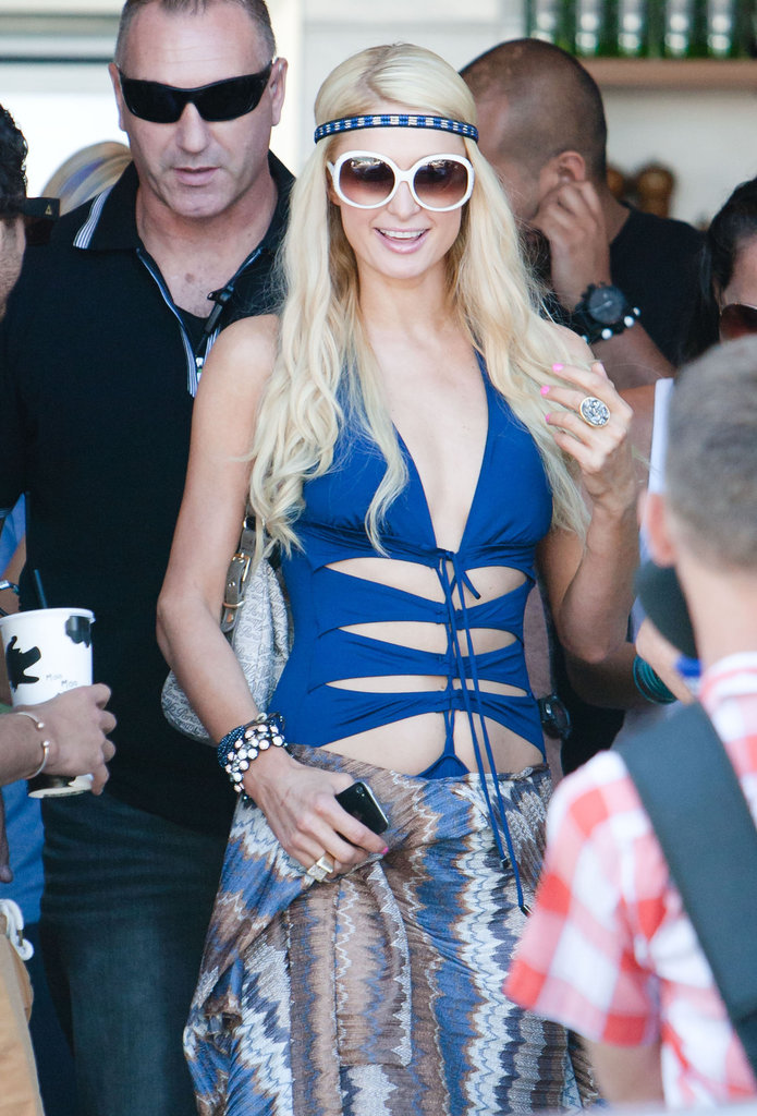 Paris Hilton had fun at Bondi Beach in a blue bathing suit with cutouts.