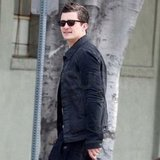 Orlando Bloom wore a jean jacket.