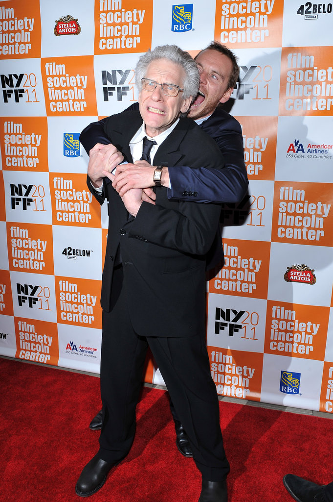 A Dangerous Method director David Cronenberg was on the receiving end of some Michael Fassbender love at a NYC premiere in October 2011.