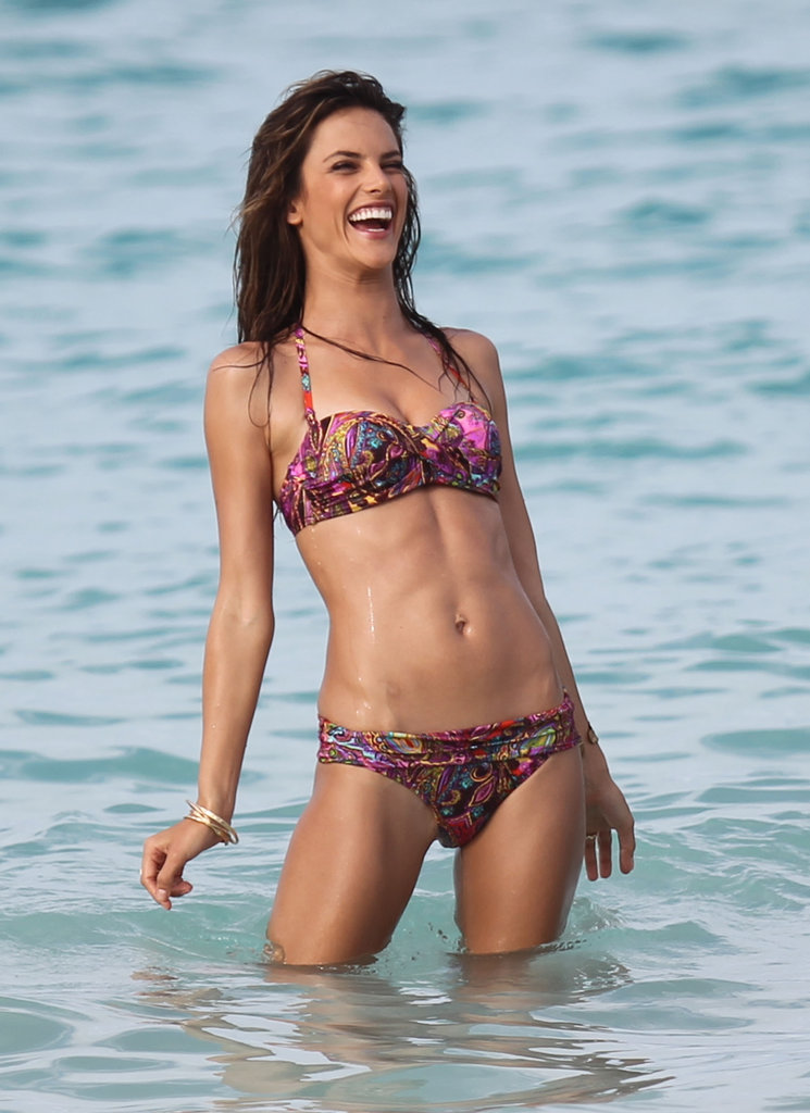Alessandra Ambrosio had a laugh while shooting for Victoria's Secret in St. Barts in July 2010.