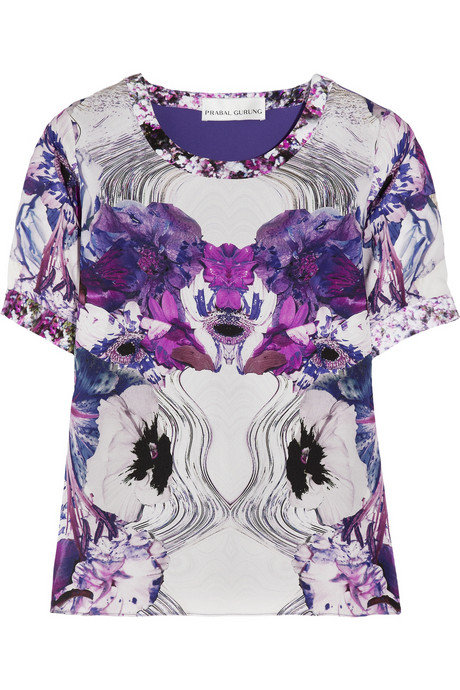 We love this printed Prabal Gurung top. The crewneck silhouette gives it just the right amount of casual edge and the artsy print is simply magical.  Prabal Gurung Printed Silk-Georgette Top ($795)