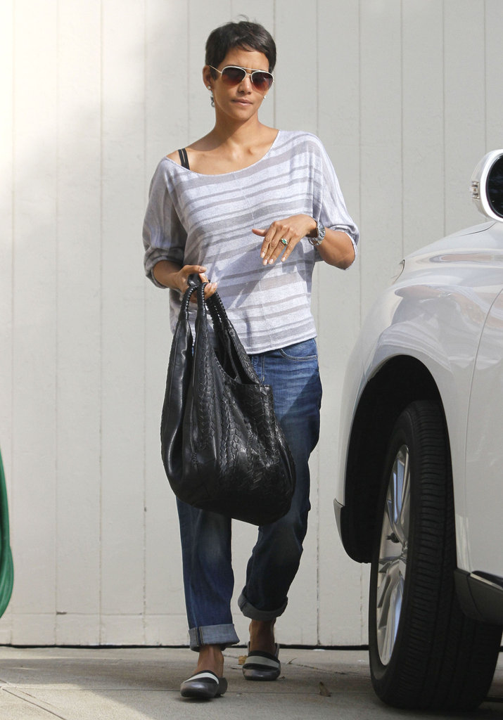 Halle Berry flaunted her emerald engagement ring.