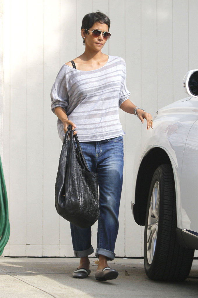 Halle Berry walked to her car.