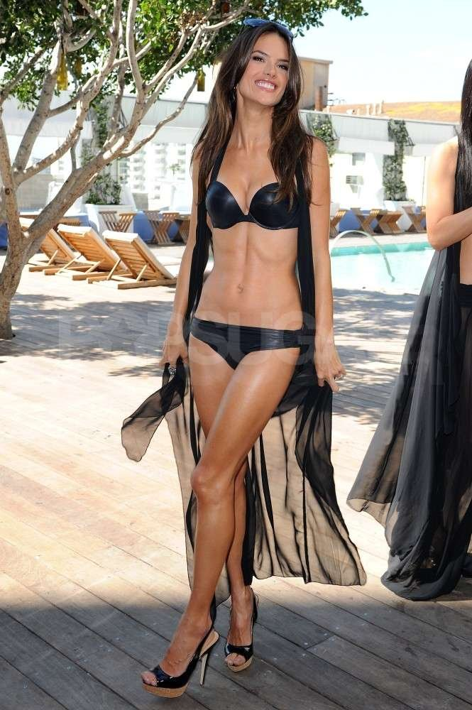 Alessandra Ambrosio wore a black bikini at a launch for Victoria's Secret in LA in March 2011.