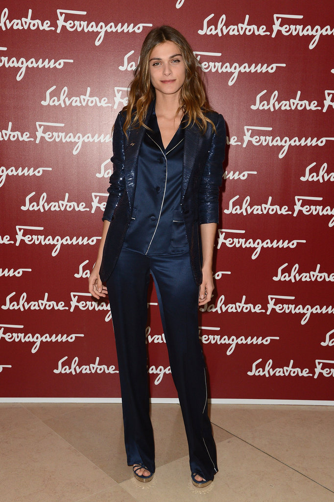 Elisa Sednaoui perfected the pajama-dressing trend at a Ferragamo fete.
