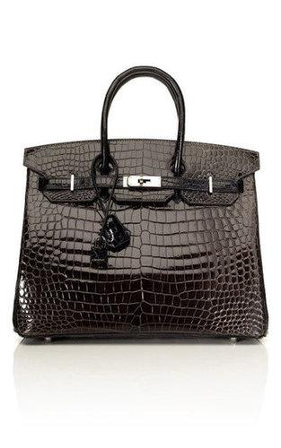 35cm Horseshoe Custom Order Shiny Two-Tone Black & Graphite Porosus Crocodile Birkin by Vintage Hermès | Moda Operandi