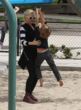 Gwen Stefani helped Kingston on the playground in LA.