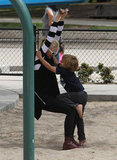 Gwen Stefani got a hug from Kingston at a playground in LA.