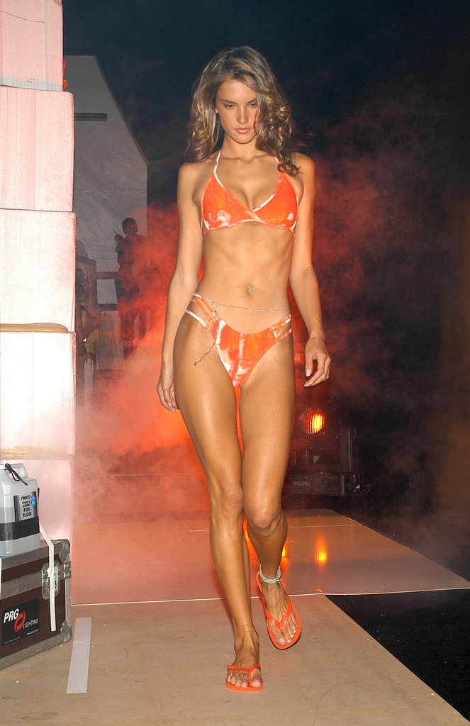 Alessandra Ambrosio modeled an orange bikini during September 2004's NYC Fashion Week.