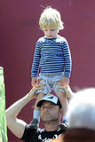 Kai Schreiber stood on his dad Liev Schreiber's shoulders in Brentwood.