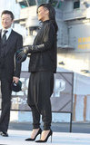 Rihanna wore all black including her new black hair at a Battleship photocall in Japan.