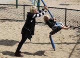 Gwen Stefani gave Zuma a thrill on the playground in LA.