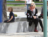 Gwen Stefani at the playground with son Kingston in LA.