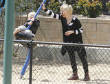 Gwen Stefani pushed Zuma on the swing on an LA playground.