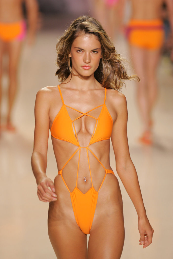 Alessandra Ambrosio walked in Rosa Cha at Olympus Fashion Week in NYC in September 2004.