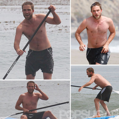 Robert Pattinson Shirtless Pictures Paddleboarding