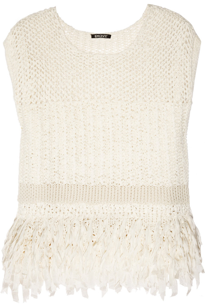 """""""My Spring wardrobe wouldn't be complete without this gorgeous DKNY open weave top. The varying crochet detail is super modern, and I love the fun fringed tassels at the bottom. I'd wear this with faded Levi's cutoffs at Coachella and with cropped printed trousers and slimming ankle-strap heels for a chic work ensemble."""" — Chi Diem Chau, associate editor  DKNY Open Weave Top ($345)"""