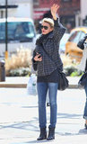 Cameron Diaz tried to hail a cab in the West Village in NYC.