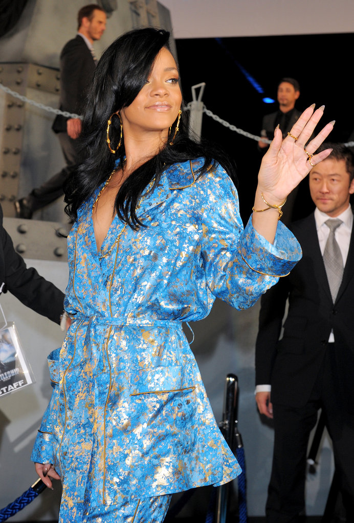 Rihanna gave a wave to the crowd.