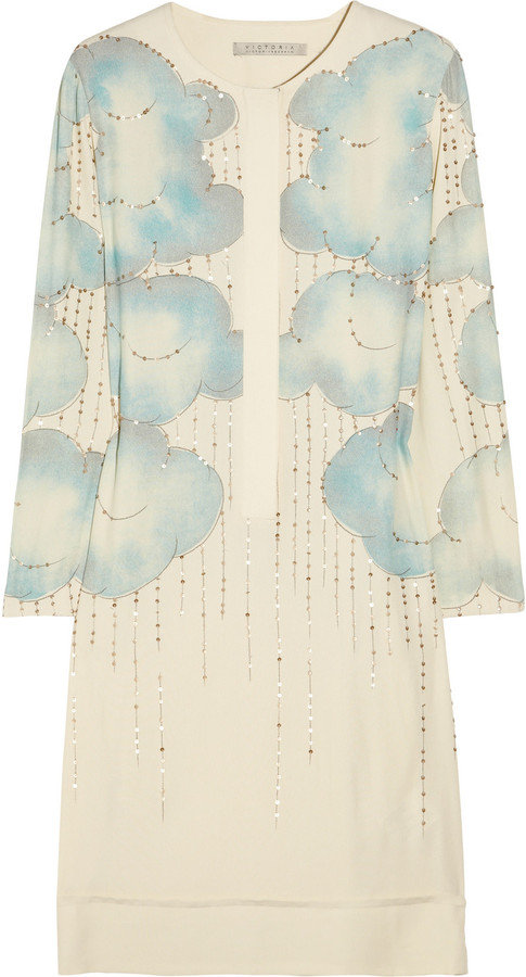 This ultra-ladylike dress would work just as well for brunch with the girls as it would for a night out with your guy.  Victoria, Victoria Beckham Cloud-Print Georgette Dress ($1,050)