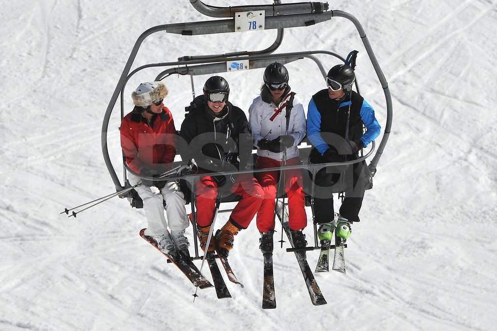 Carole Middleton, Prince William, Kate Middleton, and James Middleton got cozy on the chairlift while vacationing as a family in France.