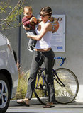 Miranda Kerr carried Flynn to the car after a yoga class in LA.