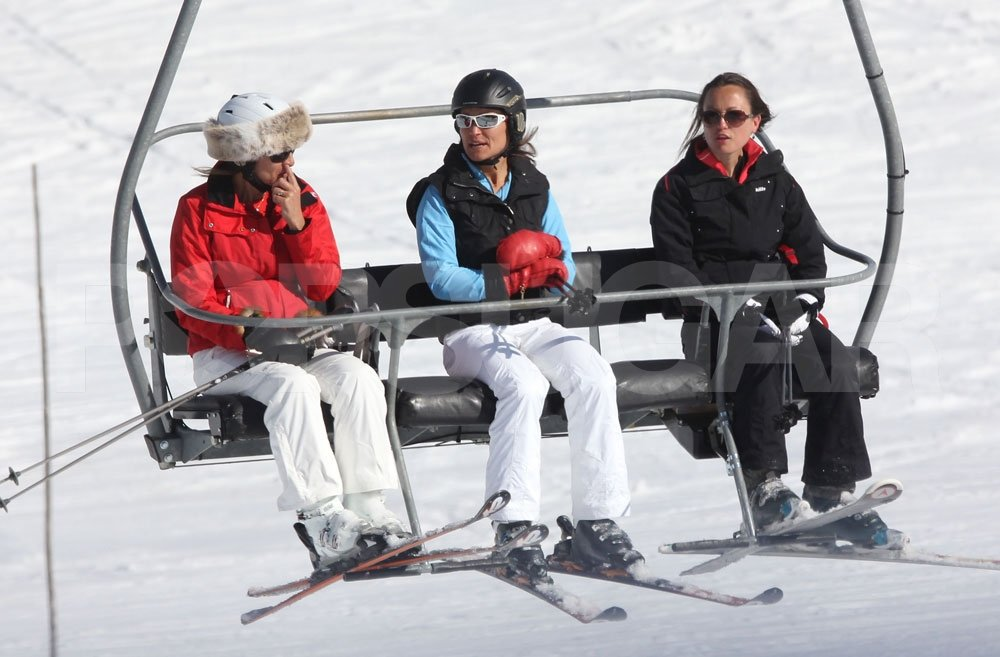Carole Middleton joined Pippa Middleton on the chairlift while skiing in France.