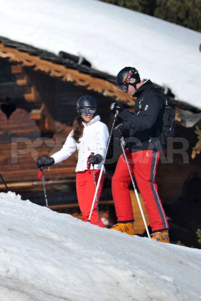 Prince William and Kate Middleton got ready to ski down the mountain together  in France.