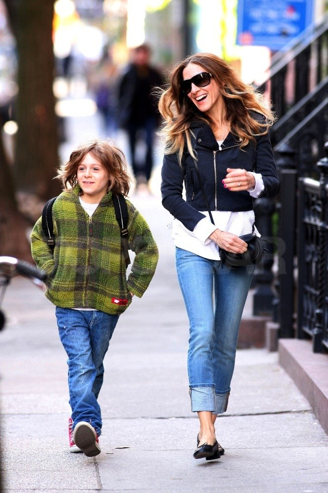 Sarah Jessica Parker chatted with James Wilkie Broderick in NYC.