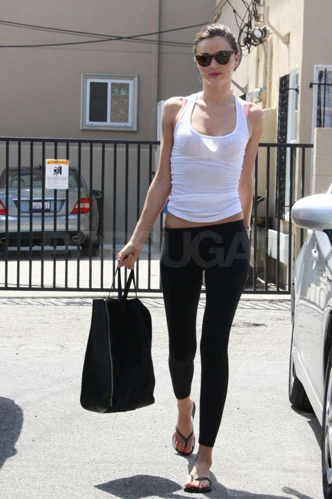 Miranda Kerr showed off her amazing physique in West Hollywood.