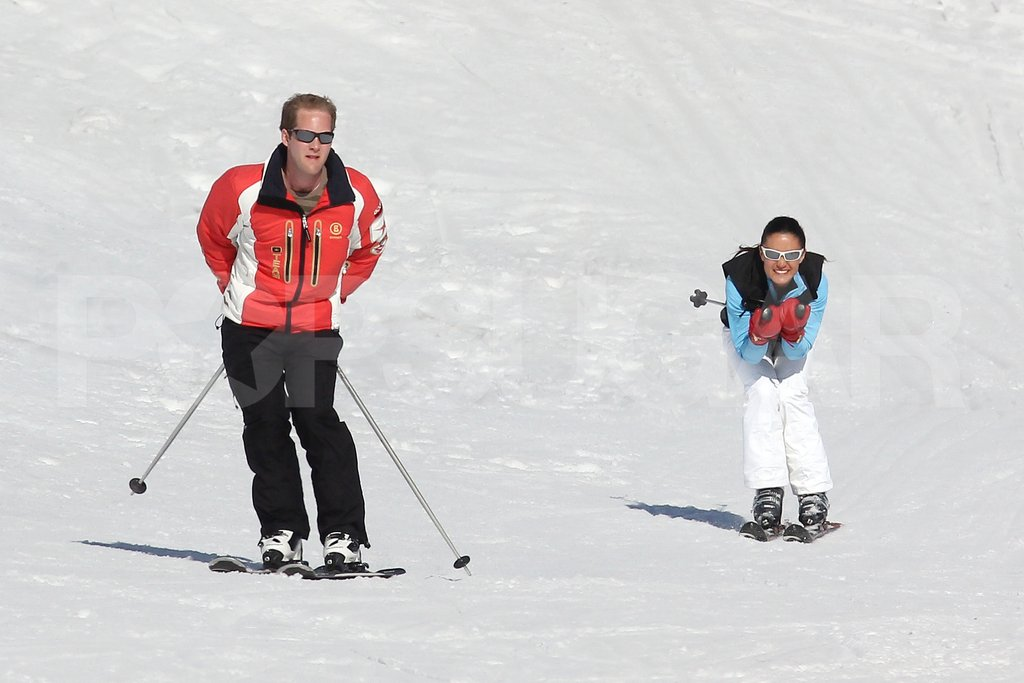 Pippa Middleton and George Percy skied side by side in France.