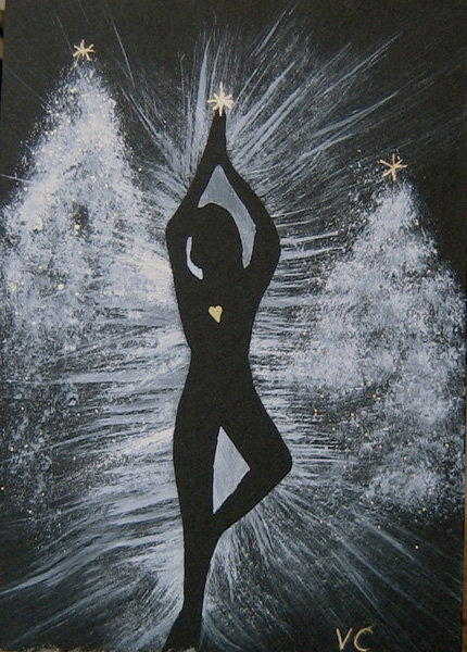 A yogini in a Tree pose goes to grab a star in this Yoga Tree Painting ($7). I'm digging that lit-up heart.