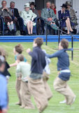 The royal family watched the sack race from the royal box during the Braemar Highland Games on Sept. 4, 2010.