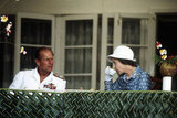The Duke of Edinburgh and his wife enjoyed a cup of tea during their tour of the South Pacific islands in October 1982.