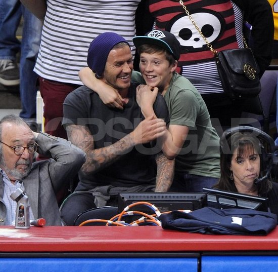 David Beckham Bonds With Brooklyn While Watching an LA Basketball Faceoff