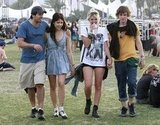 Eli Roth, Peaches and Pixie Geldof, and Evan Peters walked to a show in 2010.