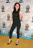 Kristen Stewart wore black to the MTV Movie Awards in June 2008 in LA.