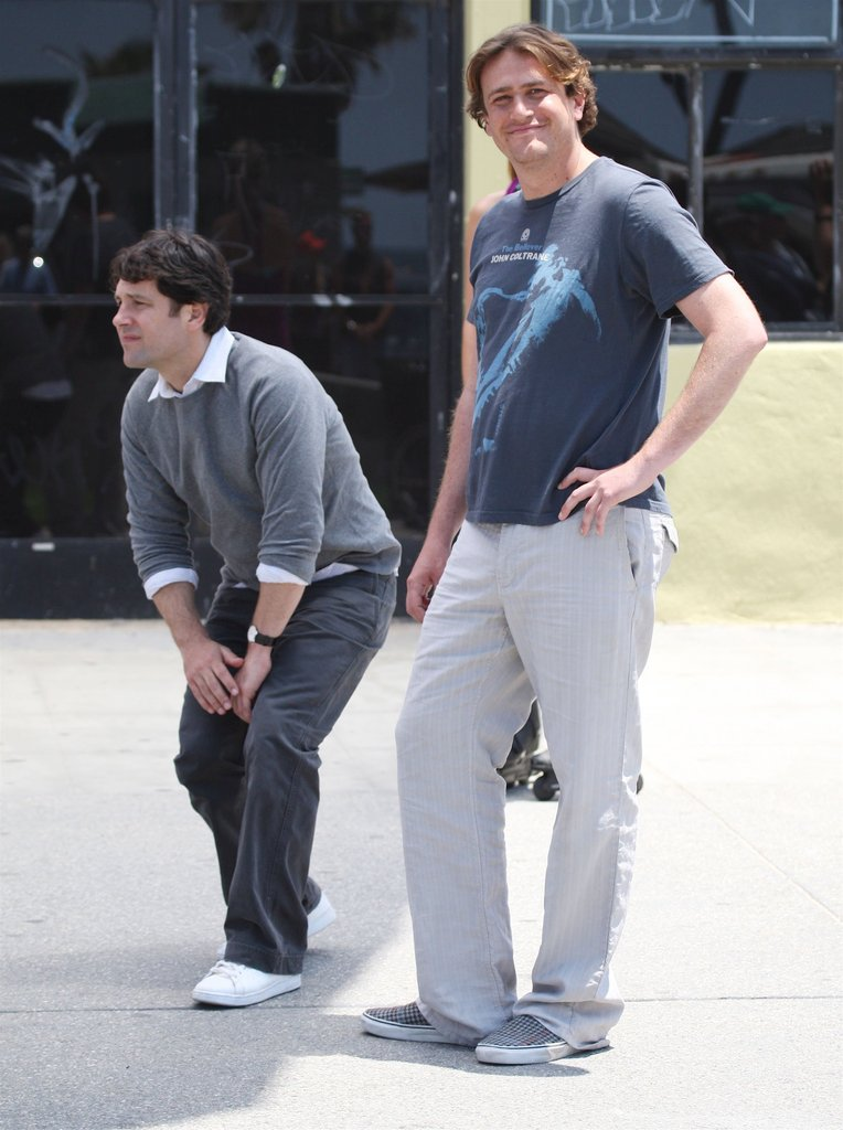 Paul Rudd and Jason Segel horsed around on the set of I Love You Man in May 2005 while in LA.