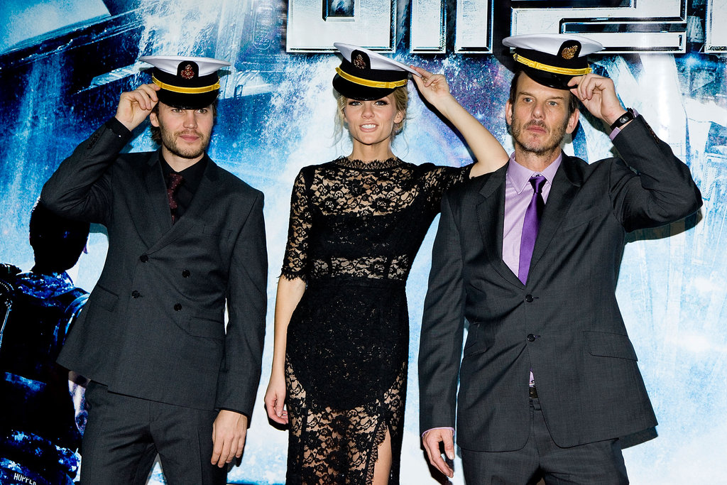Brooklyn Decker, Peter Berg, and Taylor Kitsch wore hats for Battleship.
